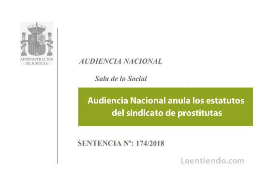 Sentencia de la Audiencia Nacional que anula estatutos del sindicato de prostitutas