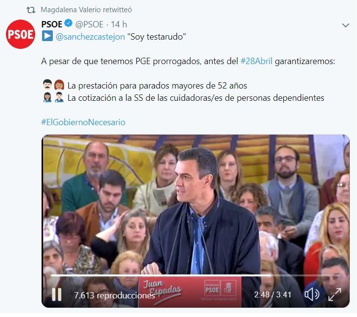 PSOE y Ministra de Trabajo confirman el compromiso de recuperar antes de las elecciones el subsidio de mayores de 52 años