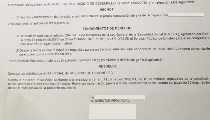 Resolución del SEPE denegando subsidio por interrupción inscripción superior a 90 días
