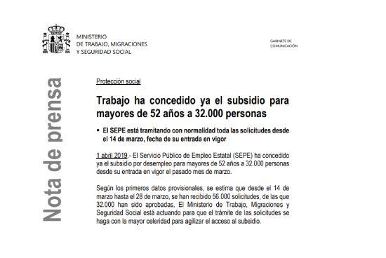 Aprobadas 32.000 solicitudes subsidio mayores 52