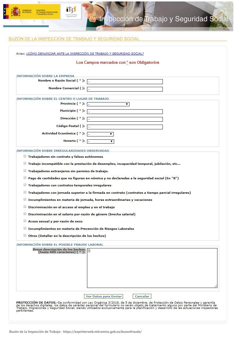 Formulario de denuncias anónimas de fraude laboral