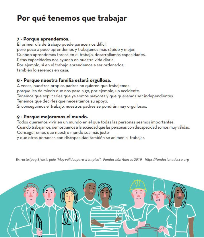 """Extracto (página 9) de la guía """"Muy válidos para el Empleo"""" de la Fundación Adecco"""