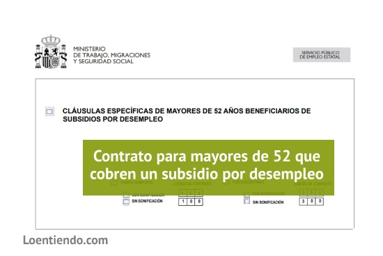 Contrato mayores de 52 que cobren un subsidio