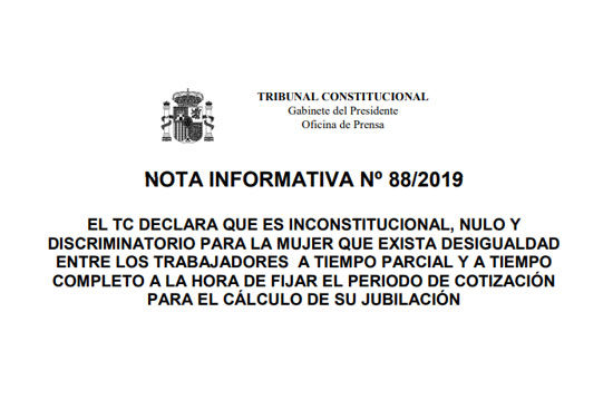 Sentencia TC anula calculo pensiones a tiempo parcial