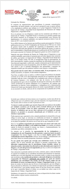 Carta de los sindicatos de Inspección de Trabajo al Ministerio de Empleo