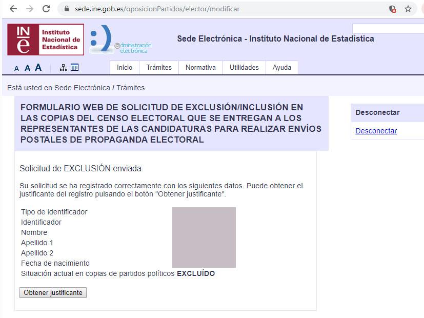 Darse de baja envío propaganda electoral, paso 3