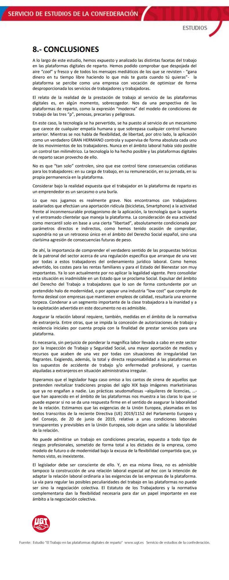 Conclusiones estudio UGT plataformas digitales de reparto