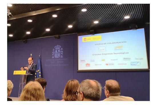 Acto de presentación del convenio entre el SEPE, FUNDAE y empresas tecnológicas