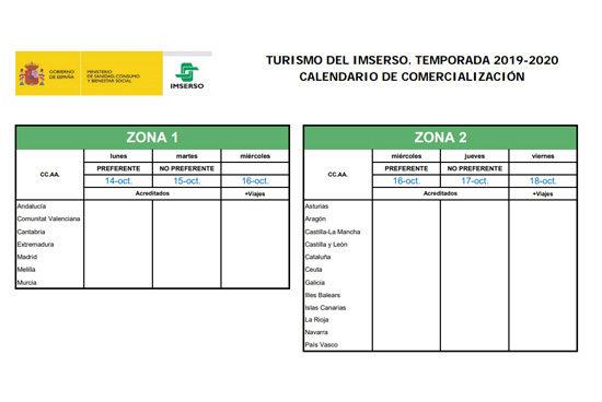 Calendario viajes Imserso temporada 2019-2020