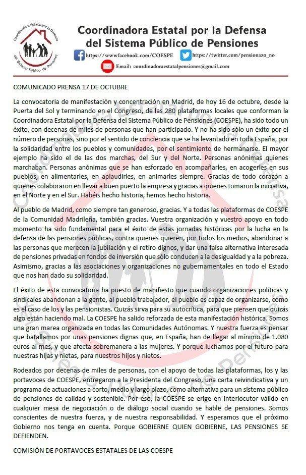 Nota de prensa de COESPE