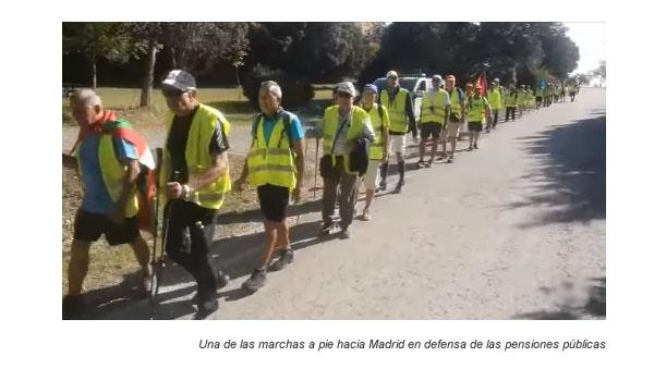 Marchas a pie hacia Madrid en defensa de las pensiones