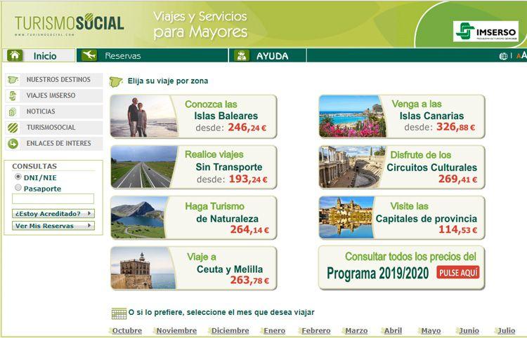 Turismo Social. Web para la reserva de los viajes del IMSERSO
