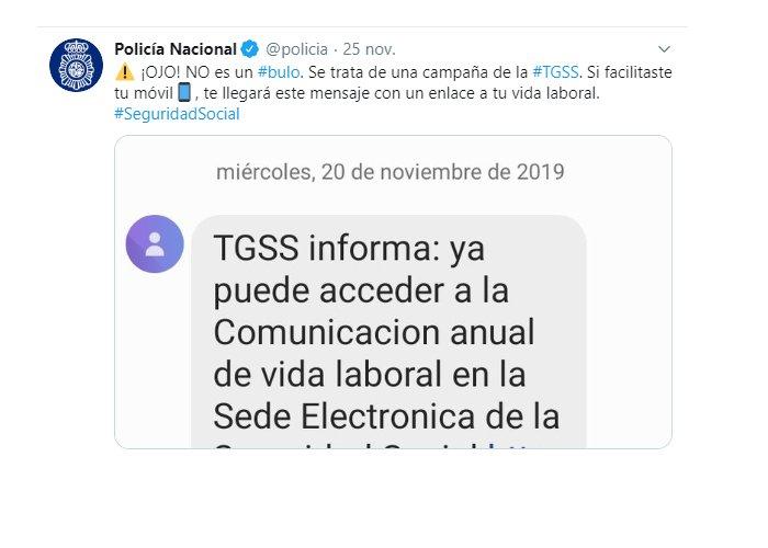 Aviso policia nacional sobre el sms de la Seguridad Social