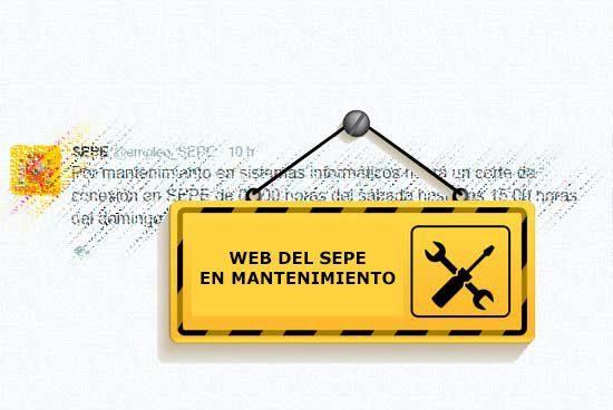 Web del SEPE en mantenimiento programado