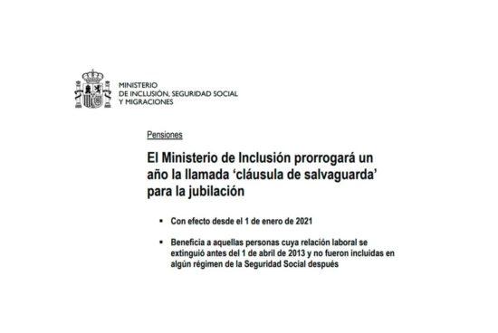 Prorroga clausula salvaguarda pensiones