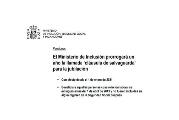 Prorrogada la cláusula de salvaguarda de las pensiones en 2021