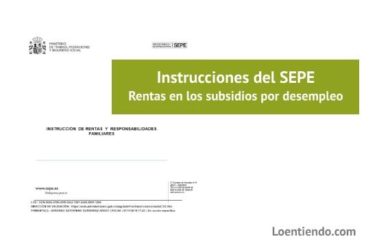 Instrucciones SEPE carencia de rentas y cargas familiares en los subsidios