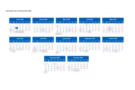 Calendario fiscal 2020 de la agencia tributaria