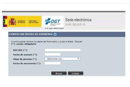 Resultados del examen de la DGT por Internet