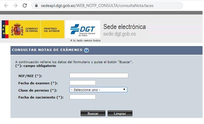 Consulta resultado del examen de conducir por Internet