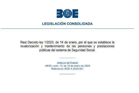 Real Decreto Ley de subida de pensiones 2020