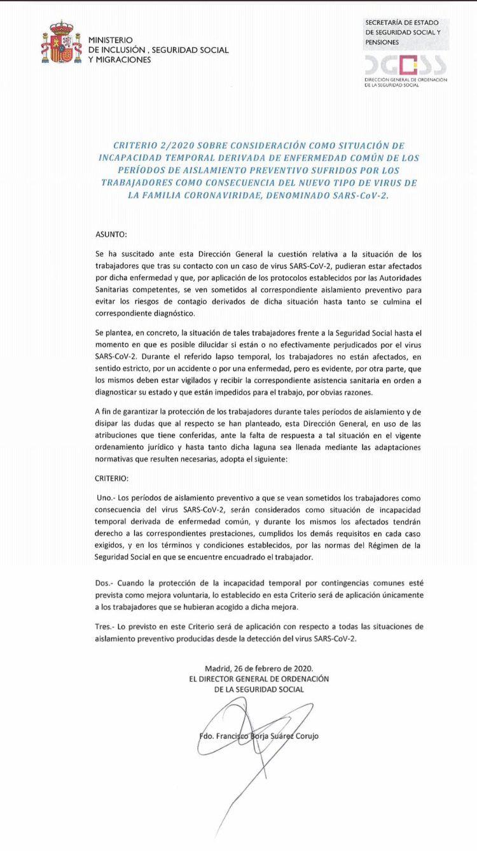 Criterio 2/2020 seguridad social sobre aislamiento coronavirus y baja por IT