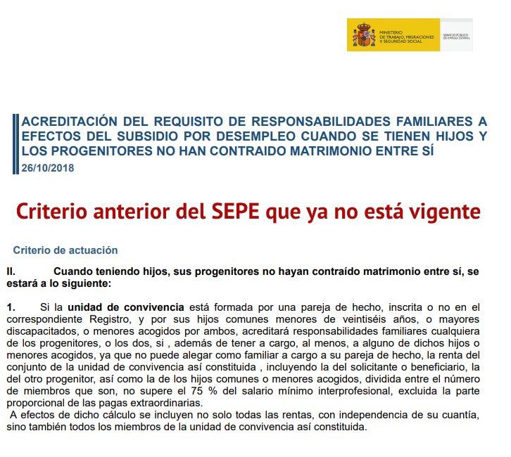 Criterio anterior del SEPE no vigente en 2020
