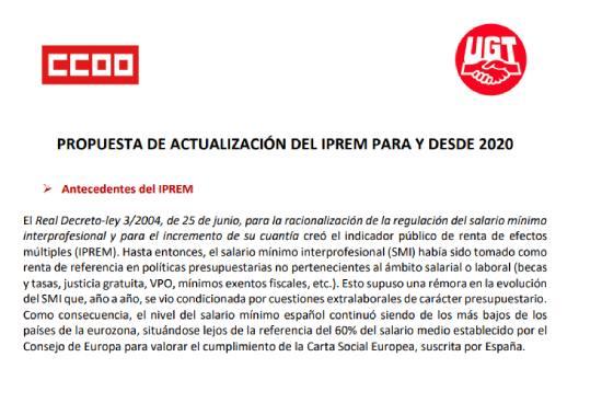 Sindicatos proponen subida del IPREM