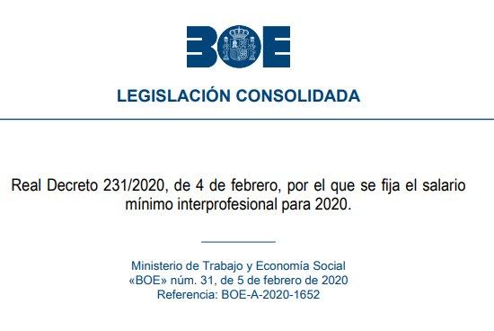 Real decreto 231/2020 salario mínimo interprofesional 2020