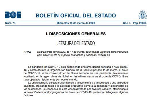 BOE Real Decreto Ley 8/2020