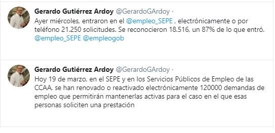 Mensaje del director general del SEPE a través de Twitter