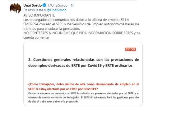 Alerta fraude CCOO cuenta bancarias ERTE