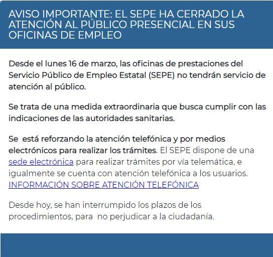 Aviso SEPE oficinas cerradas desde el lunes 16 de marzo