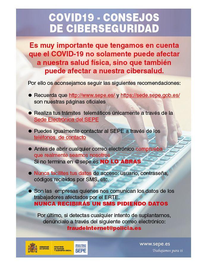 Aviso SEPE prevención estafas ERTE
