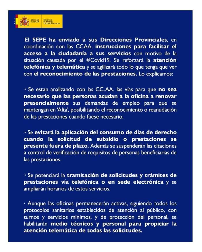 Aviso SEPE no acudir a oficinas de empleo y medidas alternativas