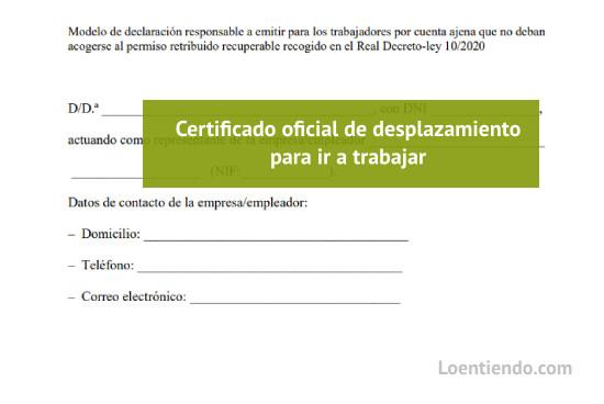 Modelo de certificado de autorización para ir a trabajar