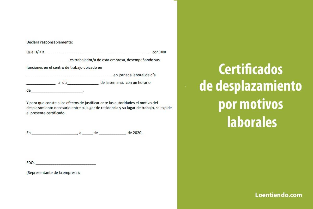 Modelos de certificado para desplazamiento por motivos laborales