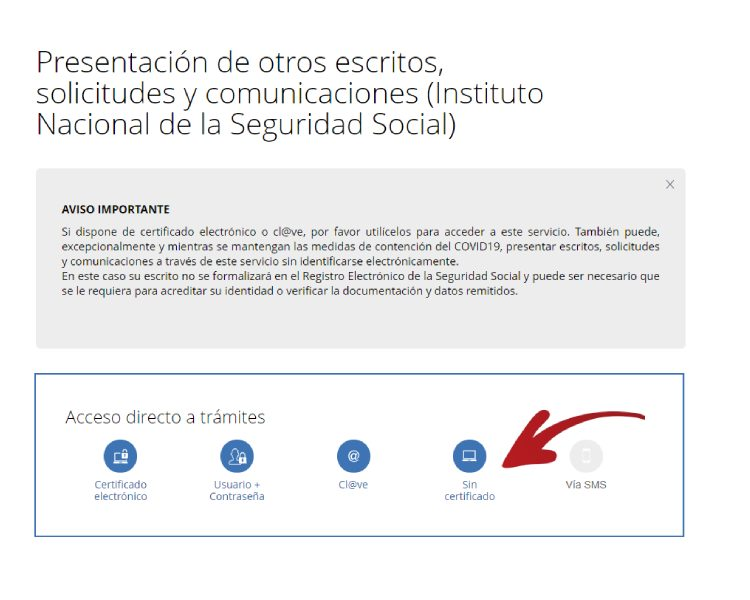 Envío de escritos a la Seguridad Social sin certificado