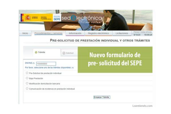 Nuevo formulario de pre-solicitud del SEPE