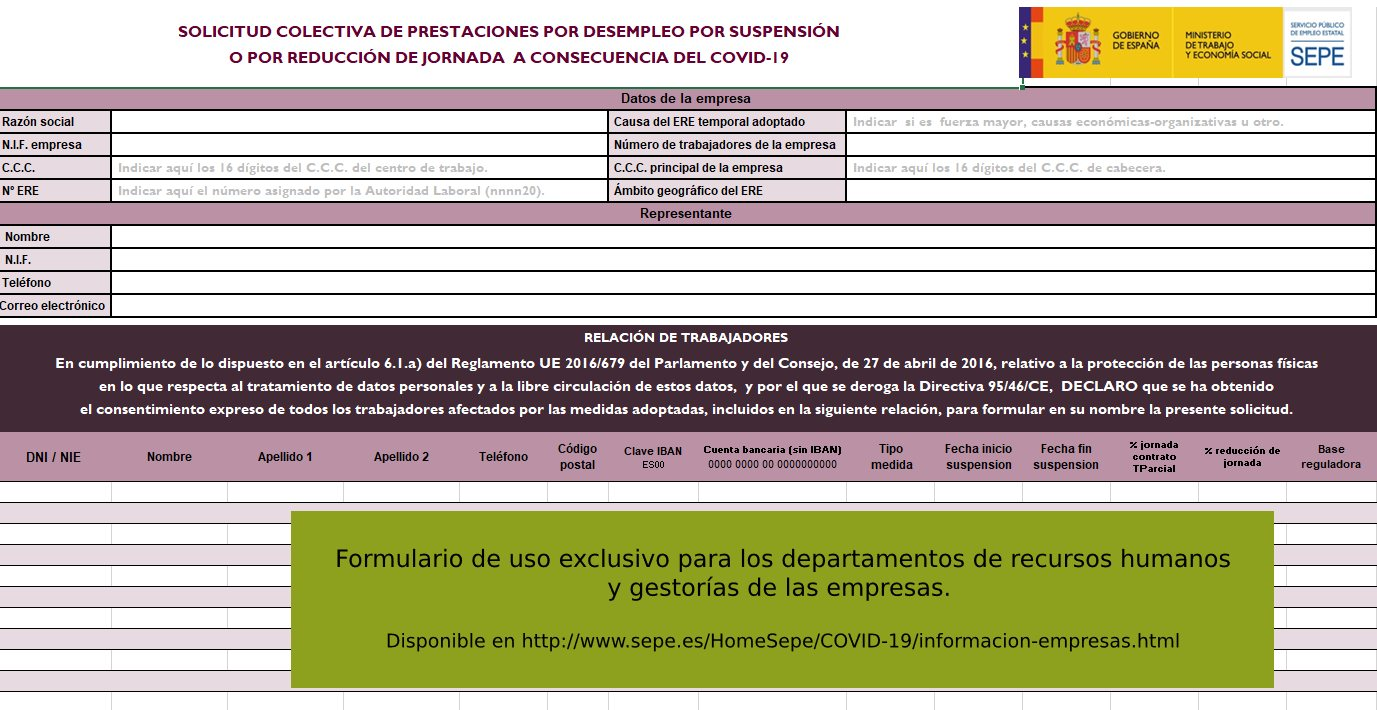 Formulario de empresas para solicitar ERTE colectivo por coronavirus
