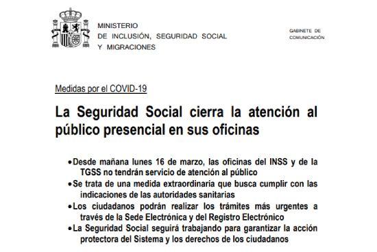 Cierre de oficinas de la Seguridad Social en atención directa por el coronavirus