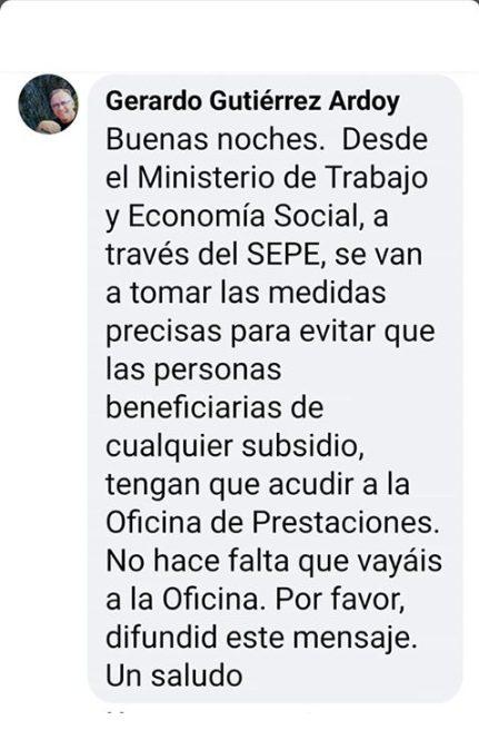 Mensaje del Director General del SEPE en redes sociales