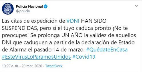 Renovación de DNI en Twitter de la Policía