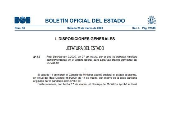Portada BOE real decreto 9-2020