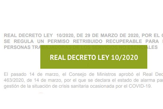 Real Decreto-ley 10/2020 (regula permiso retribuido recuperable ...