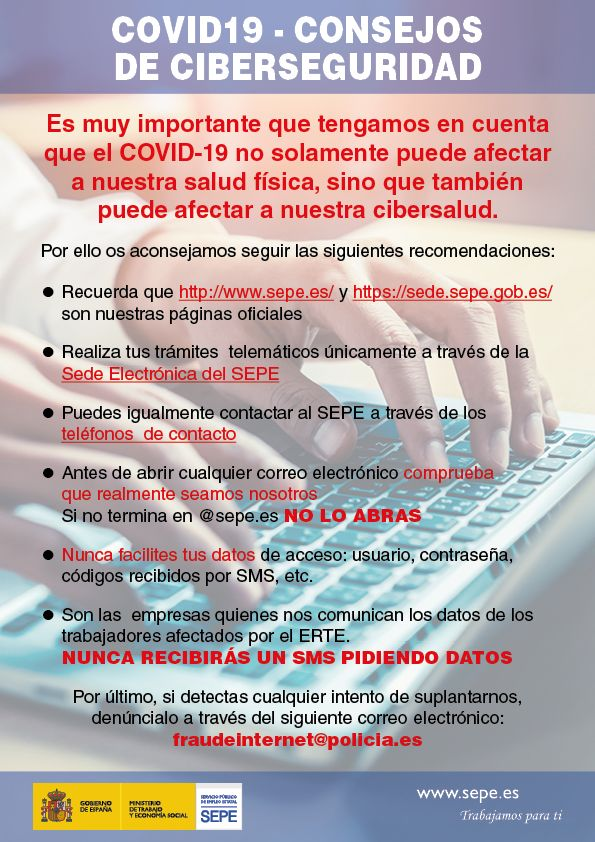 Advertencias de ciberseguridad SEPE