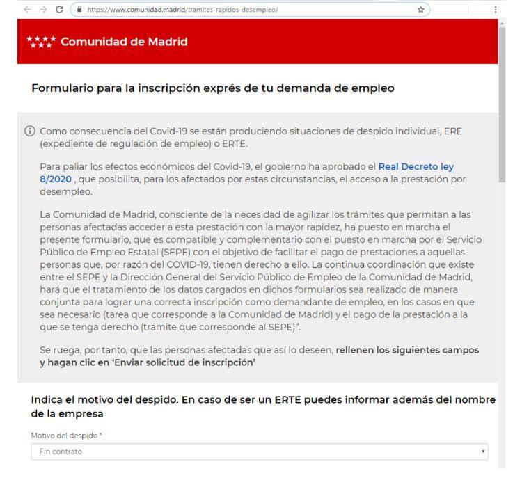 Comunicado comunidad de madrid inscripción demandas de empleo