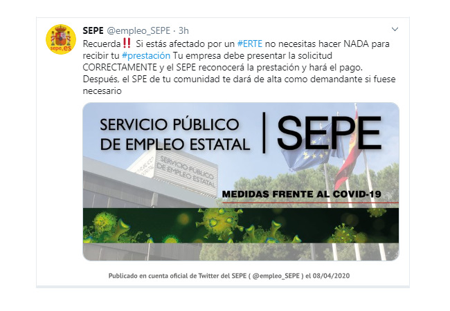 Comunicado oficial del SEPE en twitter