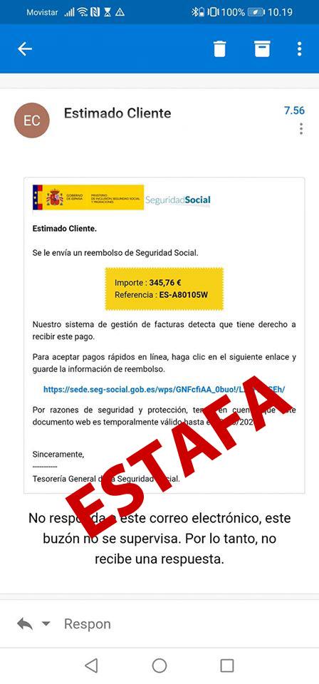 ejemplo emails estafa en nombre de la Seguridad Social