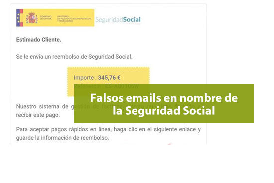 Intentos fraude Seguridad Social con falsos emails